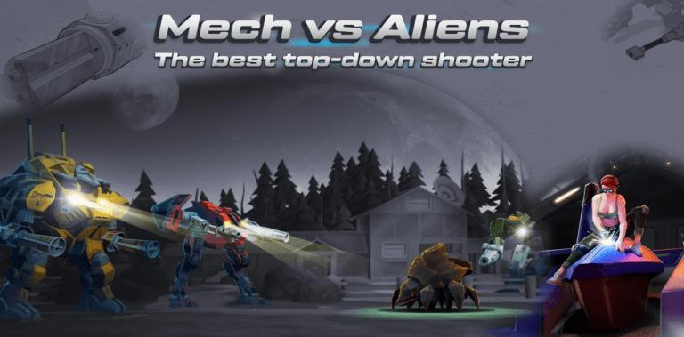Mech vs Aliens Top down shooter RPG offline