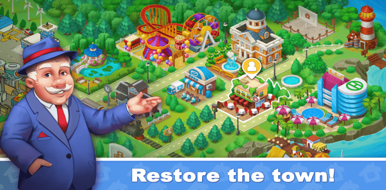 Town Blast City Restoration - Match 3 Puzzle Game